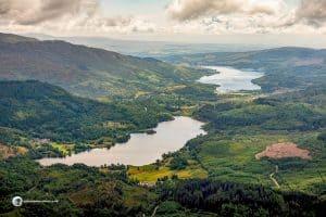 Lochs Achray and Venachar from Ben Venue