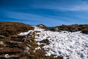 The snowy path to Ben Lawers summit