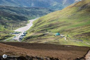 Looking down on Glenshee Ski Centre